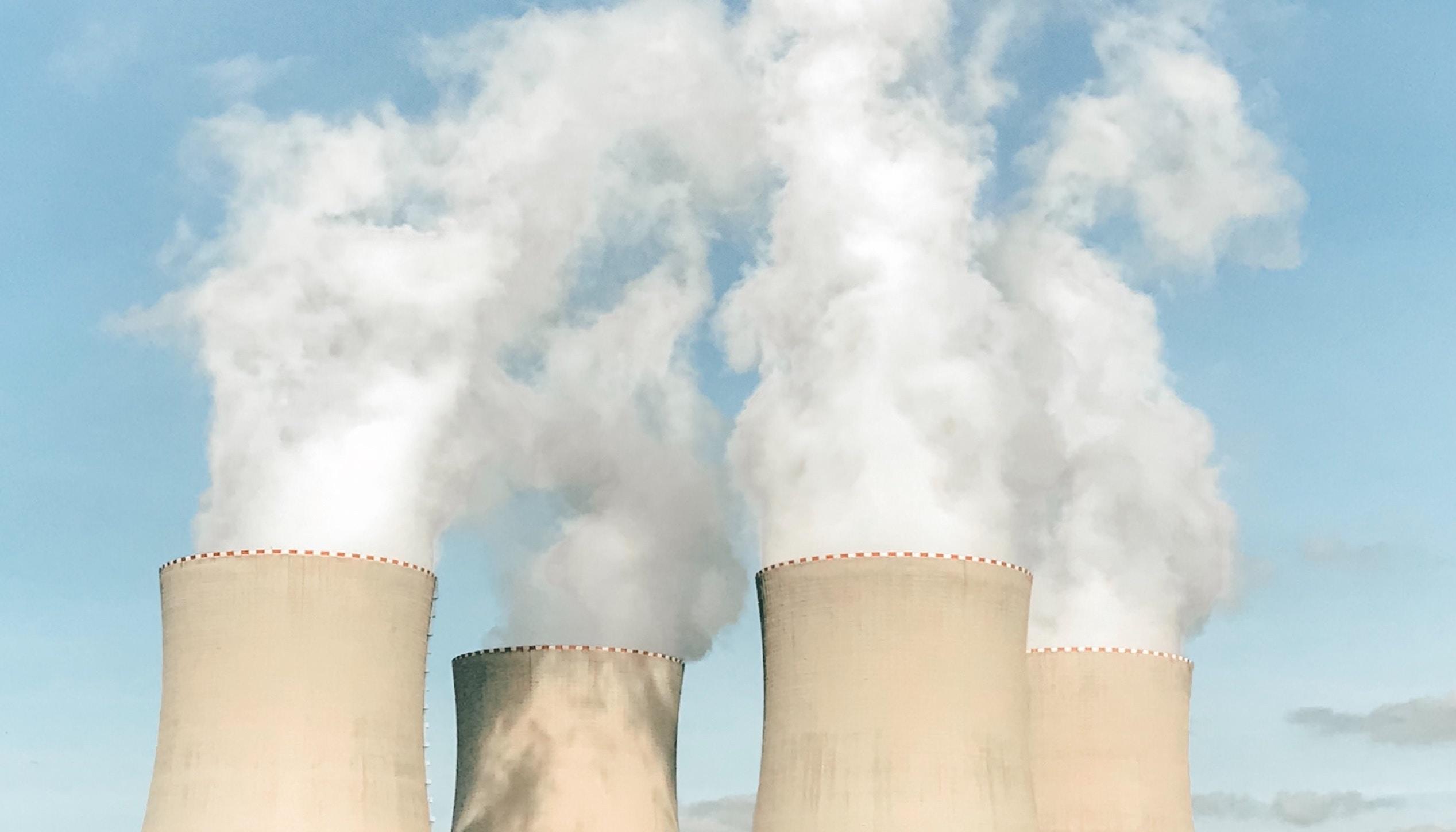 Nuclear plants releasing steam