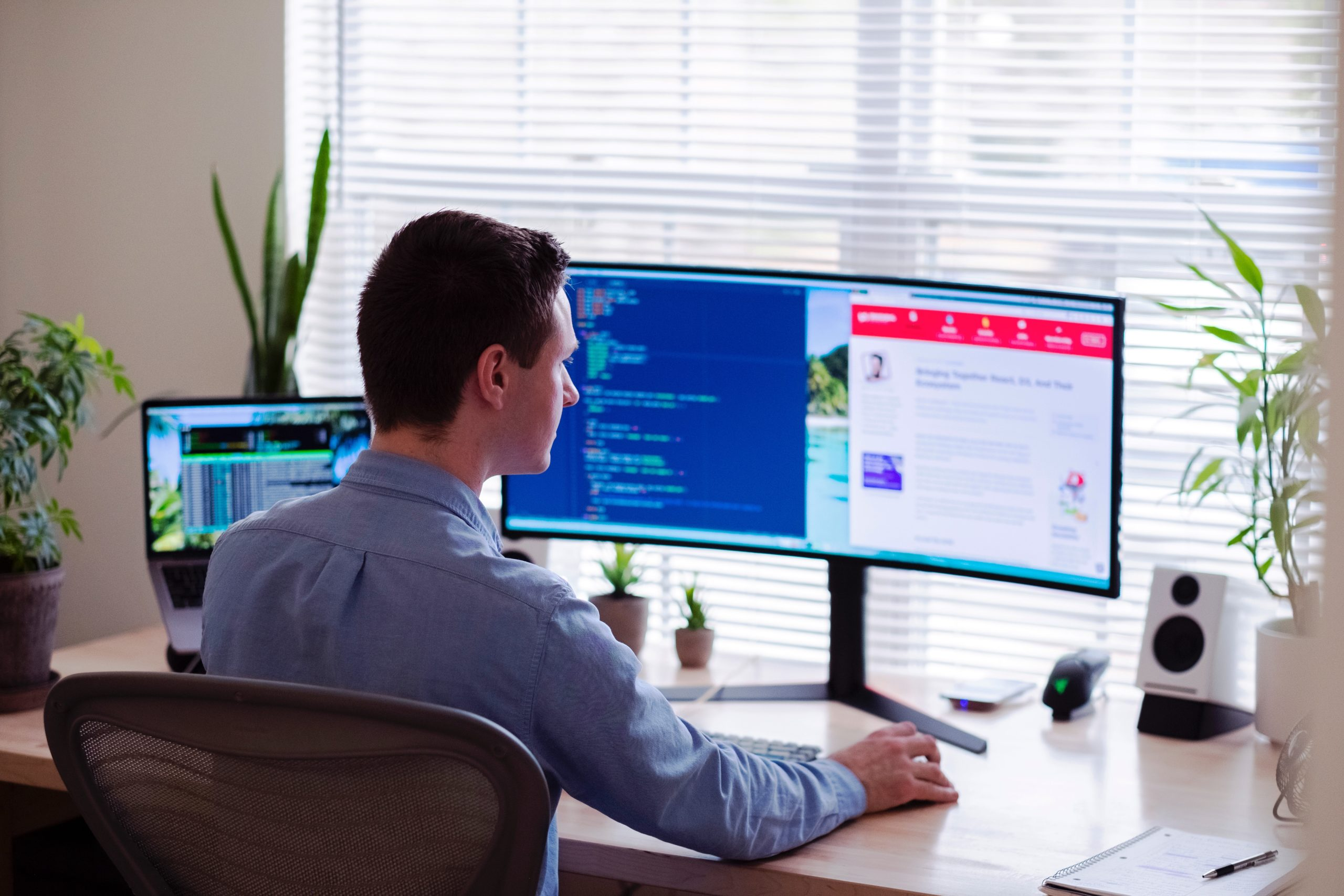 Home working man at desk