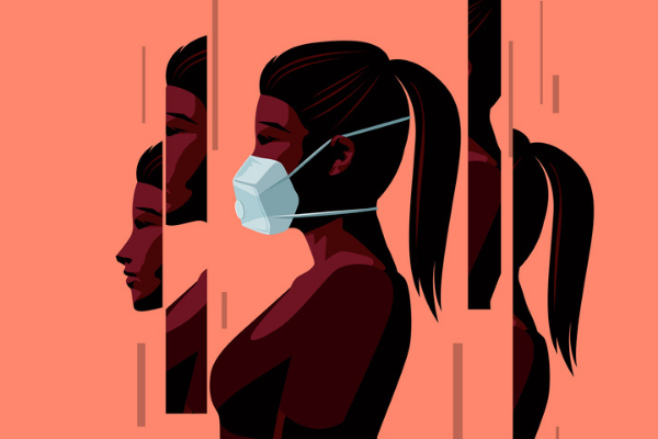 Illustration of an anxious woman wearing face mask